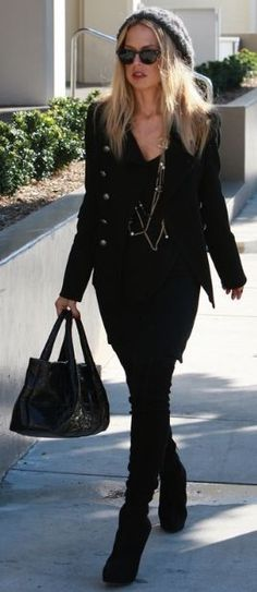 Who made Rachel Zoe's leopard hat, necklace, and black suede boots? Hat – Eugenia Kim  Necklace – Chanel