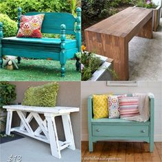 21 beautiful DIY benches for every room. Great tutorials on how to build benches easily out of wood, concrete blocks, or even old headboards and dressers. Hanging Mason Jar Lights, Diy Hanging, Old Headboard, Headboards, Cool Diy, Easy Diy, Diy Bank, Diy Greenhouse, Diy Pallet Furniture