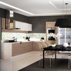 Cozinha Planejada - Romanzza - Shopping Casa Decorada Kitchen Interior, Modern Interior, Interior And Exterior, Kitchen Design, Interior Design, Black Kitchens, Home Kitchens, Casa Park, Kitchenette
