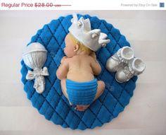 ON SALE Boy Prince Baby Shower First Birthday FONDANT Boy Cake Topper Baptism Christening Crown favors decorations. $23.80, via Etsy.