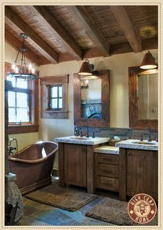 Always wanted a copper tub. Simple and Rustic Bathroom Design for Modern Home : Classic Rustic Barn Bathroom With Double Wooden Vanity Rustic Bathroom Designs, Bathroom Interior Design, Interior Modern, Scandinavian Interior, Interior Ideas, Dream Bathrooms, Beautiful Bathrooms, Log Cabin Bathrooms, Bathrooms Decor