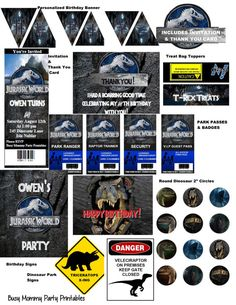 Jurassic World Party Package Printables Includes Invitation Thank You Free Personalization