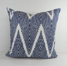 Blue Chevron Decorative Pillow Cover, Throw Pillow Cover, Zigzag Cushion, 20 x 20, 18 x 18