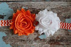 Orange and white football baby headband, OSU, Oklahoma State shabby chic headband by AshlynsAccessoryCo