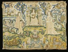 A silk, wool and linen embroidered panel of a man and woman in a garden surrounded by symbols, peacock, for pride, and cockatrice symbolising lust. Between the couple is the fountain of spirituality. Harmony is music in the form of a woman, playing the lute under a fruiting arbour, c. 1650-1700  Location:  Museum of London, London, Great Britain