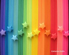 Items similar to 500 Origami Stars Paper Strips, Rainbow Multicolor Lucky Stars on Etsy Origami Star Paper, Origami Lucky Star, Origami Easy, Origami Hearts, Origami Boxes, Dollar Origami, Origami Flowers, Rainbow Origami, Origami Bird