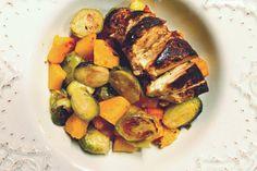 Maple-Glazed Chicken, Sprouts & Squash