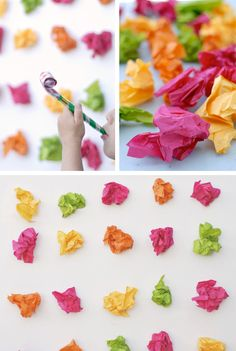 Colorful tissue backdrop, a bit of creativity could make this more interesting.