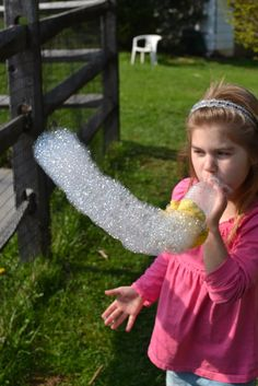 Bubble Snakes-with empty soda bottle-bottom cut out and covered with a wash cloth banded ontoit -great idea :-)