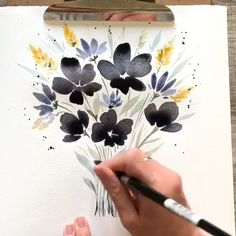 Watercolor Flowers Discover Black flowers art Black and white art Minimalist poster Watercolor Flowers Tutorial, Floral Watercolor, Art Floral, Watercolor Paintings For Beginners, Painting Videos, Poster Color Painting, Black Flowers, Painting & Drawing, Minimalist Poster