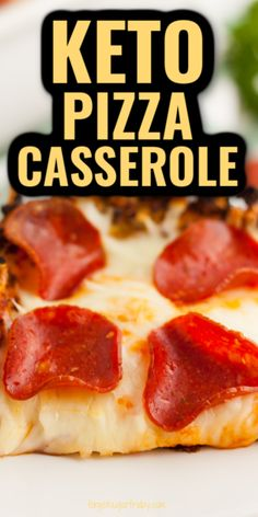 This Keto Pizza Casserole isn't any ordinary keto casserole recipe! It's like a deep dish pepperoni pizza. You won't believe what the crust is made out of!! Only 6g net carbs per generous piece. Also great as a low carb dinner for the low carb diet! Kid-friendly keto recipe too. Low Carb Dinner Recipes, Keto Dinner, Diet Recipes, Cooking Recipes, Keto Fudge, Pizza Casserole, Low Carb Casseroles, Deep Dish, Keto Snacks