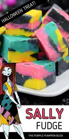 It's the Nightmare Before Christmas so what better time to make a batch of Sally Skellington Fudge! With swirls of pink, teal, black, and yellow to resemble Sally's iconic dress, this vanilla white chocolate fudge is a Halloween delight! Halloween Party Drinks, Halloween Dinner, Spooky Treats, Halloween Treats, Sally Skellington, White Chocolate Fudge, Cheap Halloween Decorations, Purple Pumpkin, Dessert Recipes For Kids