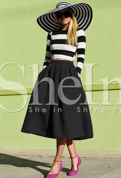 Black Flare Pleated Midi Skirt with pockets!!!