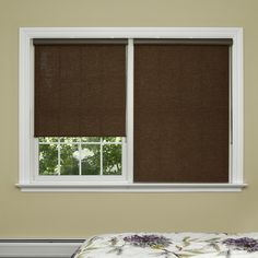 "Best Home Fashion, Inc. Premium Wood Look Window Roller Shade Color: Charcoal, Size: 29"" W x 64"" L x 0.13"" D"