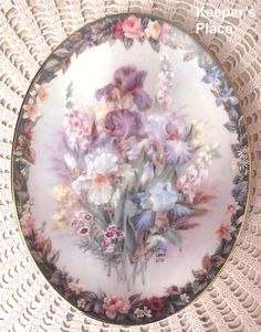 Lena Liu CHERISHED Oval Plate 3rd Issue Floral Cameos Series Bradford Exchange