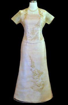 Classics with a twist: the formal dress is designed with an unexpected starburst pattern for a flattering finish. 3pc dress. (Bolero, blouse and skirt) Spaghetti strap evening dress Fitted bodice #womensbarong #instalike #bestoftheday #instagood #philippinefashion #fashion #beautiful #picoftheday #embroidery #onlineshopping #barong #embroideryart #nostalgic #fashionflashback #philippinefashion #nationalcustome #fashion