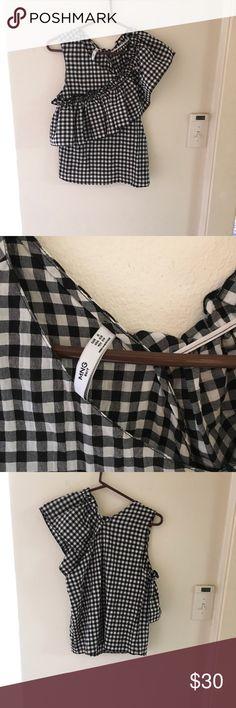NWOT, cute one shoulder ruffle blouse NWOT, cute one shoulder check ruffle blouse, cotton material Mango Tops Blouses