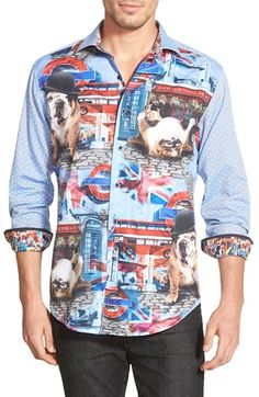 Robert Graham 'English Bulldog' Classic Fit Graphic Sport Shirt available at #Nordstrom