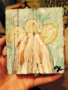 angel paintings on reclaimed wood. www.paintedpapers.net