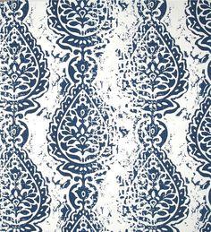 Farmhouse Navy Blue Cotton Bolls Fabric Designer Cotton Drapery Curtain Fabric Or Upholstery Fabric Southern Country Navy Indigo Fabric C334