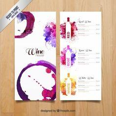 Menú de vinos de la acuarela