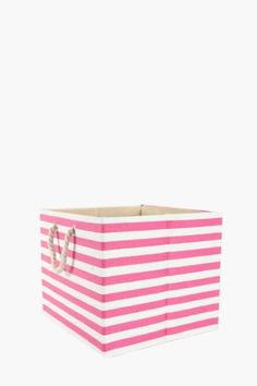 This fashionable toy basket is covered in a stripe paper weave and lined with fabric. Making toy storage a fashionable cm