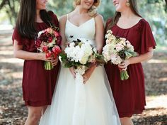 Short burgundy red bridesmaid dresses. Artsy Simple Rustic Country Wedding Inspiration