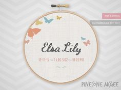BUTTERFLY BIRTH ANNOUNCEMENT counted cross stitch pattern baby butterflies nursery record personalized xstitch sampler cute shower gift
