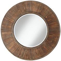 "Easton Wood Panel 31 1/2"" Distressed Wall Mirror | LampsPlus.com $150"