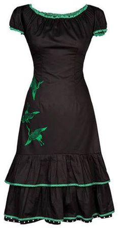 Carmen - black/green http://ecouture.dk/kleider-1/carmen-black-green.html?___store=gb&___from_store=gb DRESS IN ORGANIC, HAND PRINTED COTTON SATEEN WITH TIE-STRINGS IN THE BACK The dress is made from our gorgeous, hand-printed 100% organic cotton sateen [GOTS-certified] with tie-strings in the back, so the waist can be adjusted to show off your beautiful curves. The dress goes to just below the knee, with a stitched underskirt of silk.
