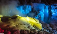 A partially frozen Niagara Falls is seen on the American side lit by lights during sub freezing temperatures in Niagara Falls, Ontario March (Photo by Mark Blinch/Reuters) All Nature, Amazing Nature, Niagara Falls Frozen, Niagara Falls Pictures, American Falls, Beautiful Places, Beautiful Pictures, Canada, East Coast