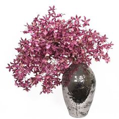 LDF Silks Purple Dancing Oncidium Orchids In Metallic Silver Ceramic... ($990) ❤ liked on Polyvore featuring home, home decor, floral decor, flowers, decor, plants, fillers, backgrounds, effect et ceramic home decor