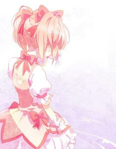 bow from_behind gloves kaname_madoka magical_girl mahou_shoujo_madoka_magica nape pink pink_hair puffy_sleeves short_hair short_twintails solo tears twintails water white_gloves Madoka Magica, Sad Anime, Anime Art, Chibi, Sayaka Miki, Otaku, Sakura, Fanart, Kawaii