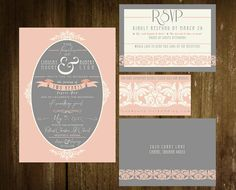 Vintage Style Unique Wedding Invitations  Pink by TheOystersPearl, $5.00