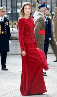 Best-Dressed Person of the Week: Princess Letizia of Asturias | Vanity Fair ~ Princess Letizia of Spain attends a military parade at the Royal Palace in Madrid on January 6, decked out in a crimson velvet suit.
