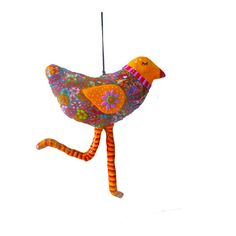 SOUL BIRD  orange whimsical bird sculpture for wall by MIRAKRIS, $38.00