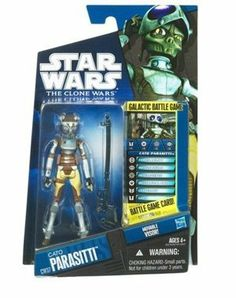 """Star Wars 2010 Clone Wars Animated Action Figure CW No. 37 Cato Parasiti by Hasbro Toys. $8.85. Cato Parasitti is figure # CW37 in the 2010 Clone Wars action figure line. Figure comes with blasters, Galactic Battle Game card, die and base. For Ages 4 & Up. Star Wars: The Clone Wars 3 3/4"""" animated action figure from Hasbro. Cato Parasitti was a female Clawdite bounty hunter and assassin from the planet Zolan. As with all members of her species, she was a changeling able to alter ..."""