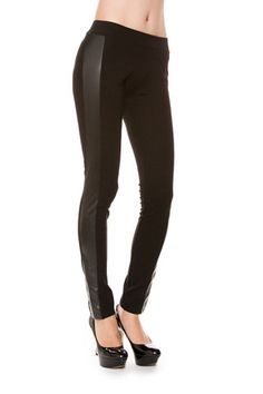Faux Leather Trim Side Accents Black Leggings Tights Pants – Niobe Clothing