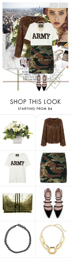 """""""Army Glam"""" by nensy ❤ liked on Polyvore featuring Mode, Unreal Fur, NLST, Ashish, Emeline Coates, Zara und Chico's"""
