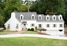 { Rob loves the garage underneath the house } Historic Brookhaven Cottage White Exterior - Atlanta Homes   The Inspired Room White Exterior Houses, Exterior Paint, Paint Ideas