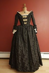 18th century black silk taffeta dress gown
