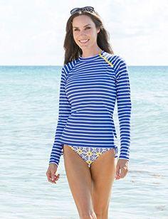 Women's Blue & White Stripe Zipper Rashguard - UPF50+ Sun Protection - 42(L) Avana
