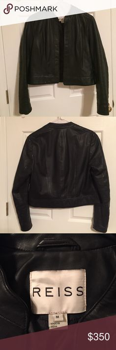 Reiss Collarless Leather Jacket Comfortable black, collarless, open lamb leather jacket. Only worn a few times. Reiss Jackets & Coats