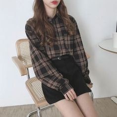 Brush Check Skirt The post Brush Check Skirt appeared first on outfits. Korean Fashion Trends, Korean Street Fashion, Korea Fashion, Asian Fashion, Look Fashion, Fashion Outfits, Skirt Fashion, Outfits For Teens, Cool Outfits