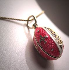 Vintage Guilloche Enameled Pendant Charm Pink Necklace