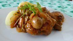 Viande de porc étuvée avec champignons