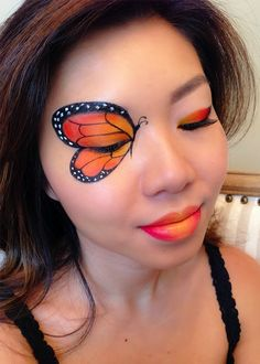 Monarch Butterfly Face Paintcountryliving butterfly makeup These Halloween Face Paint Ideas Are So Good, You Might Even Skip the Costume Butterfly Face Paint, Butterfly Makeup, Butterfly Eyes, Monarch Butterfly Costume, Butterflies, Visage Halloween, Halloween Eye Makeup, Halloween Eyes, Halloween Party