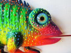 Chameleon art sculpture by artistJP on Etsy