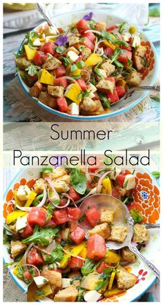 This beautiful Summer Panzanella Salad is filled with nutritious summer staples including watermelon, golden beets, arugula, herbs and a refreshing lemon dressing. This salad is the epitome of summer entertaining and the ultimate crowd pleaser Healthy Salad Recipes, Soup Recipes, Alkaline Recipes, Veggie Recipes, Healthy Meals, Healthy Food, Recipies, Recipes Using Fruit, Tomato Bread