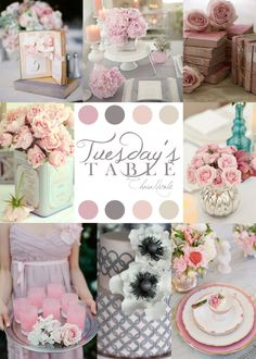 Tuesday's Table: Pink, Gray, Mercury, Vintage Tin {charanicole.com} #TuesdaysTable